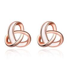 14K Rose Gold Twisted Love Knot Stud Earrings for Women Fashion Earring