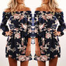 Summer Women's Off Shoulder Floral Short Mini Dress Beach Party Cocktail Evening