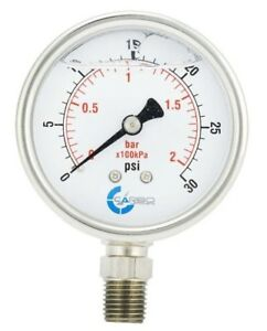 "2.5"" LIQUID FILLED PRESSURE GAUGE 0 - 30 PSI, STAINLESS STEEL CASE LOWER MOUNT"