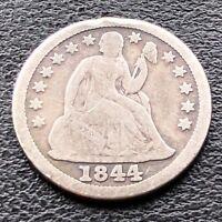 1844 Seated Liberty Dime 10c Better Grade RARE Key Date #11766
