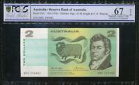Australia 1976 $2 Banknote Knight/Wheeler - PCGS 67 Superb Gem UNC OPQ