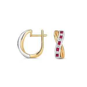 Ruby & Diamond Leverback Earrings Yellow & White Gold Drop Earrings