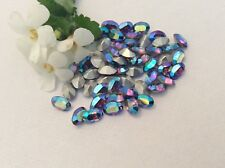 Vintage Swarovski #286 6x4mm Iris AB  Oval Rhinestone SF CRAFT x12  Post Free