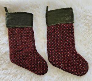 """2 Pottery Barn Christmas Stockings Sequins Beads Red & Green Velvet PAIR 20"""""""