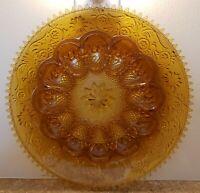 Vintage Amber Sandwich Glass Deviled Egg Dish Platter Tiara Indiana Burnt Orange