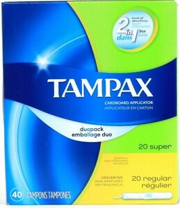 1 Box Tampax Duopack 20 Super 20 Regular Cardboard Applicator Unscented Tampons