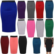 NEW WOMENS PLAIN MIDI PENCIL SKIRT BODYCON STRETCH JERSEY OFFICE SKIRT SIZE 8-26