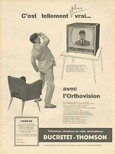 Publicité 1957  Téléviseur Récepteur de radio Electrophone DUCRETET THOMSON