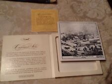 Currier and Ives Art Tile Trivet American Winter Scene Morning Wall Plaque Boxed