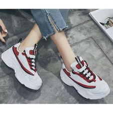 Sports Color Block High Wedges Sneakers - Red (XYG061315)