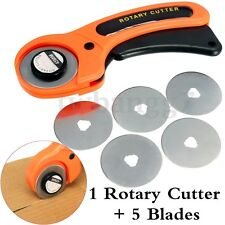 45MM Rotary Cutter Quilters Sewing Quilting Fabric Cut Craft Tool w/5Pcs Blades