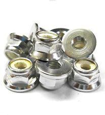 L1471 1/10 Scale RC Car Alloy M4 4mm Thread Nylon Lock Nuts Flanged x 10 Silver