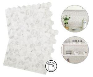 Hexagon Marble Backsplash Tiles Peel & Stick 4pcs White Grey Home Wall Stickers
