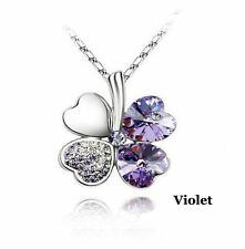 4 Heart Clover Crystal Charm Necklace