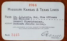 Missouri Kansas & Texas Ry Pass 1914 Houston & Brazos  Beaumont & Great Northern