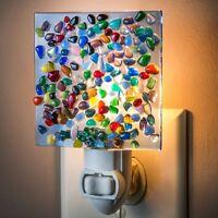 J Devlin Glass Art Blue Translucent Glass With Rainbow Colored Chips Night Light