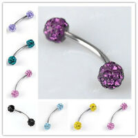 Stainless Steel CZ Rhinestone Bead Ball Curved Eyebrow Bar Ring Body Piercing