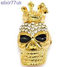 Enchapado En Oro Vintage Calavera Corona abordar Diamante Cristal abordar Punk Goth Broche