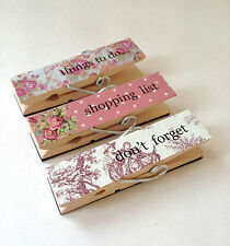 Set Of 3 Magnetic Wooden Pegs Floral Fridge Magnets Memo Note Holder Organiser