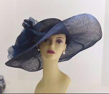 Kentucky Derby, Church, Wedding Silk Flower Sinamay Wide Dress Hat 509 (Navy)