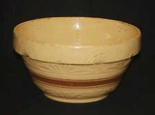 Old Antique Primitive Stoneware Crock Mixing Bowl Kitchen Tool Beige Brown Rings