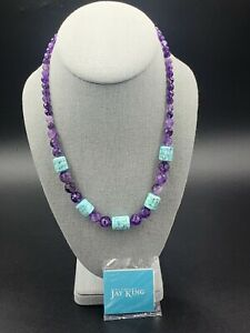 Jay King DTR Mine Finds Sterling Amethyst Inlaid Turquoise Bead Necklace