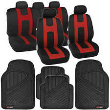 Complete Set Red Stripe Car Seat Covers / FlexTough Mats Black Front & Rear