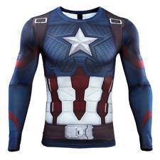 Revengers plano Capitão América T-shirts Cosplay avançada tecnologia de compressão Tee