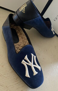 NIB $890 Gucci Men NY Yankees Velvet/Leath Loafers Blue/Black 9 US / 8 UK