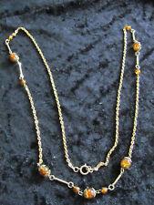 Goldene Kette mit  bernsteinfarbenen Perlen echter Bernstein (?) 90 cm