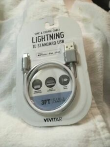 Vivitar Sync & Charge 3 Ft Cable Lightning to Standard USB for Iphone, Ipad,Ipod