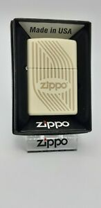 Original Zippo Flames Design creme white matte , 60003398 - 2017 -  Neu