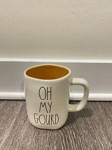 "New RAE DUNN Fall LL ""OH MY GOURD"" Double Sided Mug With Pumpkin on Back"