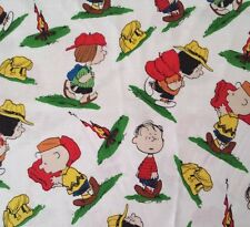 Camp Peanuts BTY Quilting Treasures Charlie Brown Snoopy Lucy Linus White