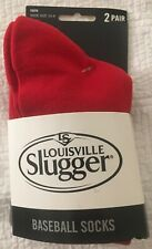 Louisville Slugger Youth Baseball Socks - 2 Pair - Red - Youth Size 10-4