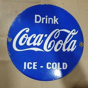 COCA COLA BLUE VINTAGE PORCELAIN SIGN 12 INCHES ROUND