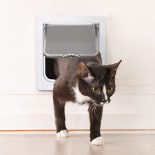 Pet Cat Interior 4-Way Locking Small Pet Kitty Flap White Safe Wall Door Gate Us
