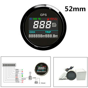 Digital LCD 52mm Motorcycle Scooter Boats GPS Speedometer 0-999 999 (Mi,NMI,KM)