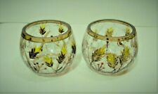 Hand Painted Fall Tealight Candle Holder Set Crackle Glass Leaf Berry Design
