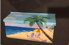 Hand Painted Wall mount custom Mailbox nautical design,Palm tree and beach chair