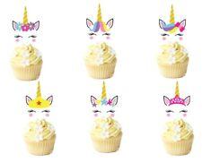 17 Unicorn Face Horn Eyeslashes Cupcake Topper Edible Wafer Card Standup Pre Cut