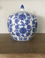 """Chinoiserie Blue & White Chinese Melon Jar W/Lid Unmarked Vase 10"""" Tall"""