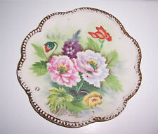 "Textured Decorative Floral Plate Scalloped Edge Great Colors! 7-3/4"" Vintage"