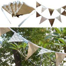 Hessian Bunting Wedding Banner Flags Vintage Burlap Christmas Party Decor UK I