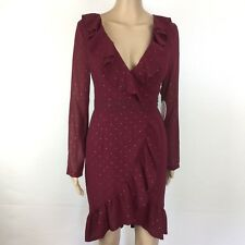 Kiss the Sky Maroon Wrap Front Tea Dress w Gold Studs Ruffles Size S NWT (AL18)