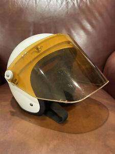 "VINTAGE PAULSON Flip Up Visor Helmet Rare 23.5"" White Amber Racing Motorcycle"
