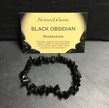"Black Obsidian Crystal Chip Bracelet 7.5"" Protective Base Root Chakra Grounding"