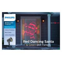 Philips Christmas Motion Laser Projector Red Dancing Santa & Green Dots~5364