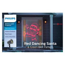 Philips Christmas Motion Laser Projector Red Dancing Santa & Green Dots~5364