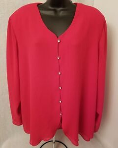 Silhouettes Womens Red Button Down Shirt Top Blouse Size 1X OR 2X